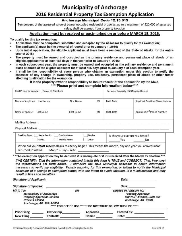 2016 Residential Property Tax Exemption Application